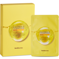 [WELLDERMA] Тканевая маска для лица КАЛЕНДУЛА Calendula Calming Soon Mask, 10 шт * 30 мл
